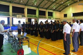 大隅中学校で行われた剣道競技の開会式の様子です。