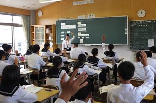 3週間の教育実習の締めくくりとして,4校時に評価授業を行いました。