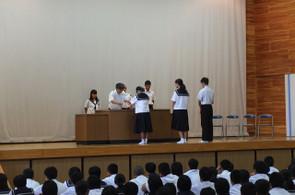 部活動や学年弁論大会最優秀者等の表彰が行われました。