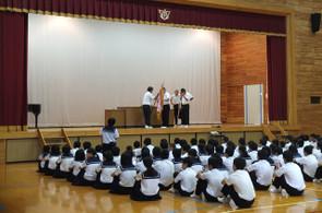 最初に夏休みに入って行われた大会等の表彰が行われました。