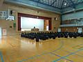 3校時,体育館で2学期の終業式が行われました。